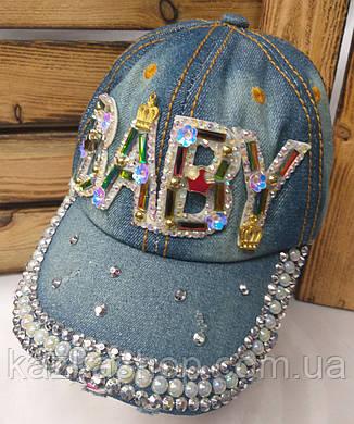 Подростковая джинсовая кепка с декоративной вставкой Baby, сезон весна-лето, с регулятором, размер 54-55, фото 2