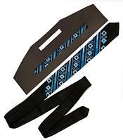 Стильный черный галстук с вышивкой синего цвета «Синеок»
