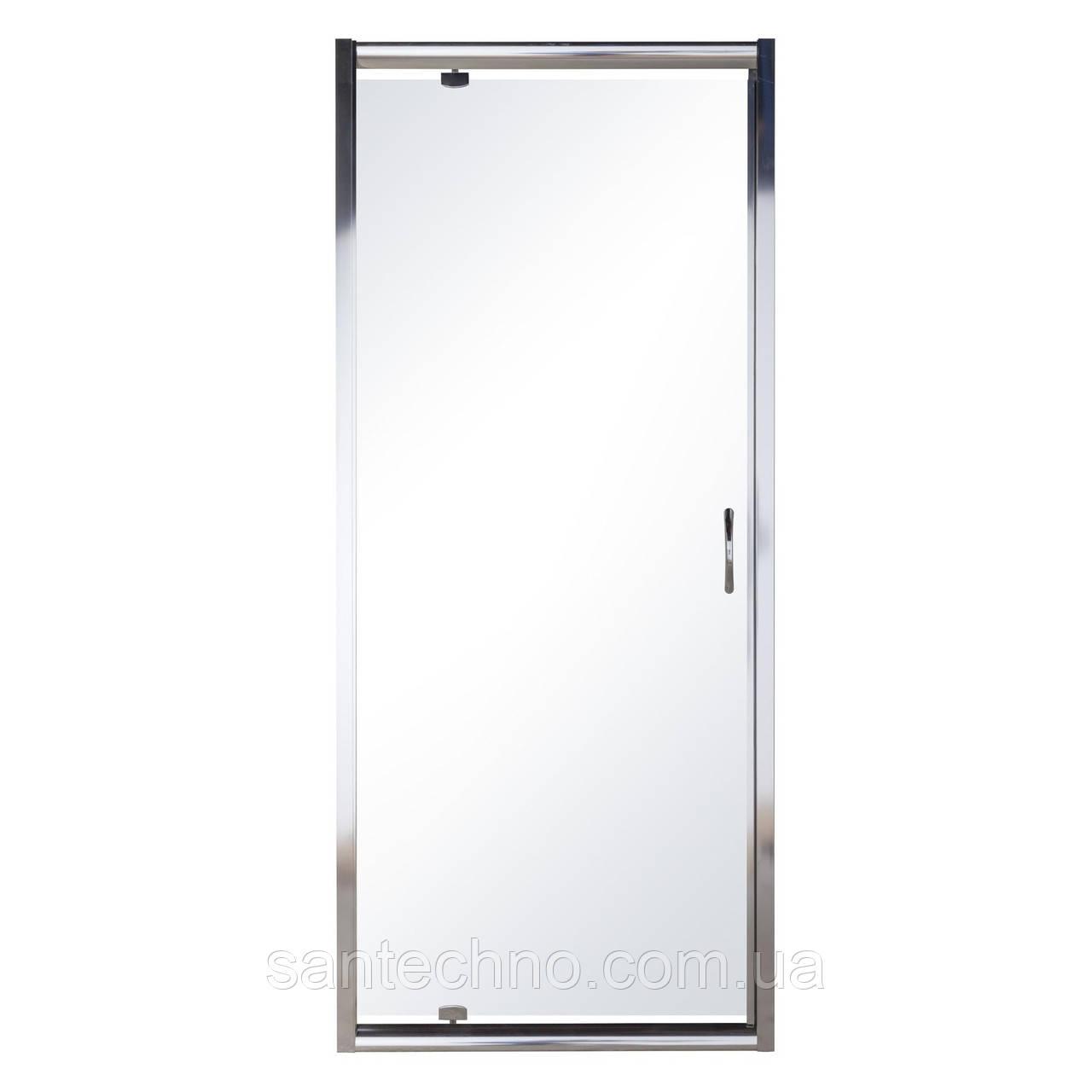 Дверь в нишу распашная 80*185 хром прозрачная