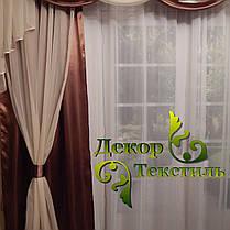 "Комплект штор ""Посейдон""+лабрекен+тюль (Коричневый), фото 3"