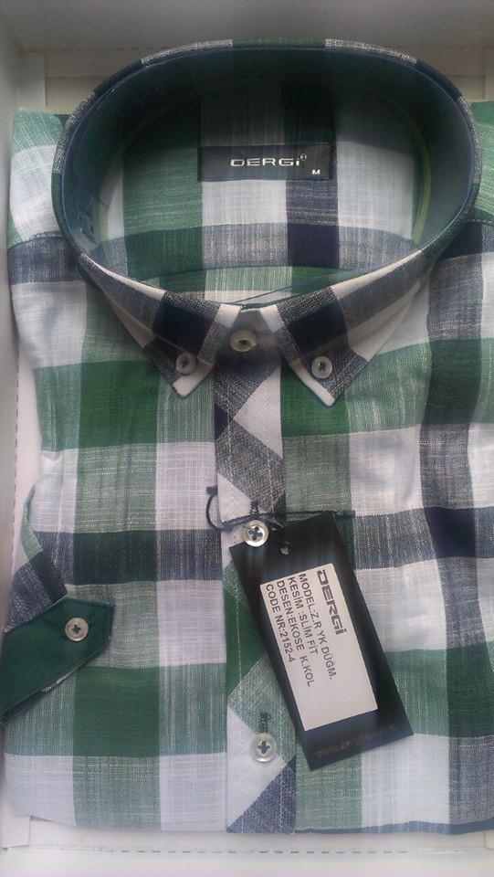 Рубашка мужская с коротким рукавом клетка приталенная DERGI с воротником на пуговицах лен