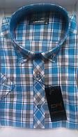 Элегантная Рубашка мужская с коротким рукавом клетка приталенная DERGI с воротником на пуговицах котон