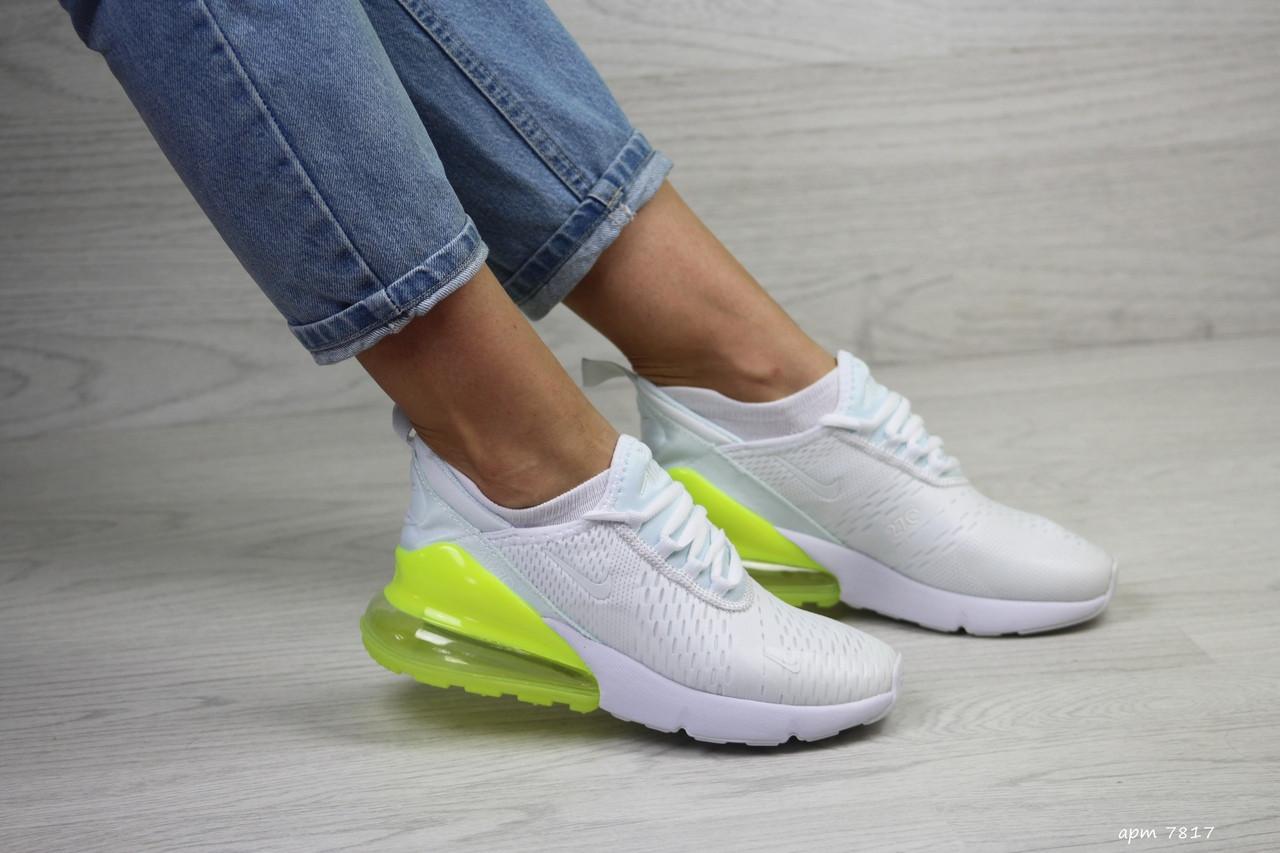 Кроссовки женские найк аир макс 270 белые желто-салатовые беговые (реплика) Nike Air Max 270 White Yellow Lime