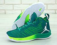 Баскетбольные кроссовки Nike Air Jordan, зеленые, в стиле Найк Джордан, текстиль, код KD-11818.