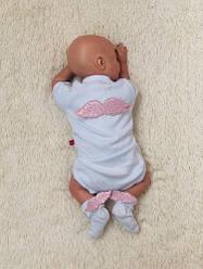Святковий комплект боді+шкарпетки Ангел (рожевий)