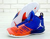 Баскетбольные кроссовки мужские Nike Jordan в стиле Найк Джордан, текстиль код KD-11408. Синие с красным