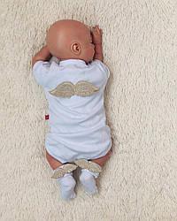 Святковий комплект боді+шкарпетки Ангел (золото)