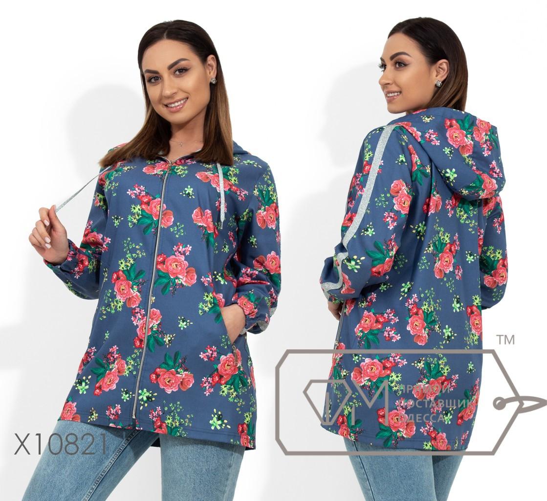 Ветровка из джинса без подклада с цветочным принтом, двойным капюшоном, репсовой лентом вдоль рукавов и резинкой на манжетах X10821