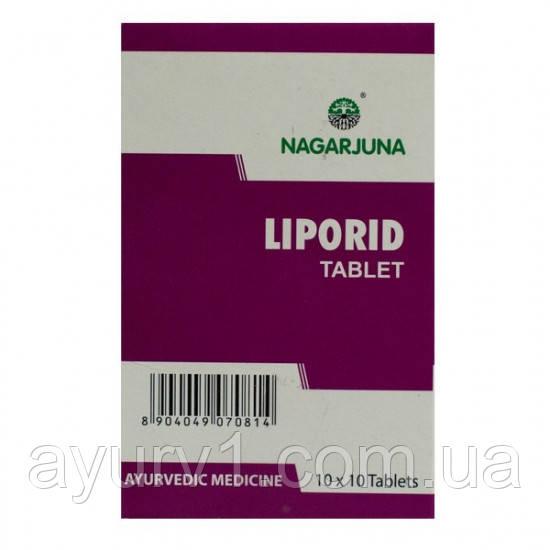 При высокой  гиперхолестролемии, Липорид / Liporid, Nagarjuna/ 100 tab.