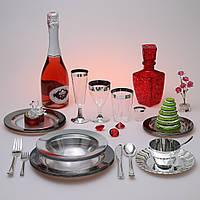 Пластиковая многоразовая уникальная из плотного материала посуда CFP 122шт/6пер
