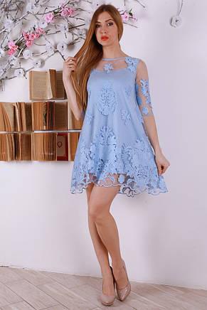 Красивое короткое шикарное платье с изумительной вышивкой 44-46., фото 2