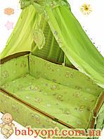 """Постельное бельё  Baby """"Мишки маленькие салатовые. 10 элементов"""", фото 1"""