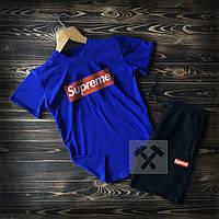 Мужской летний спортивный костюм Supreme синий с черным топ-реплика