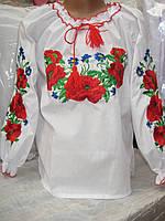 """Детская блуза вышиванка """" Маки с васильками"""" 128 - 146 р."""
