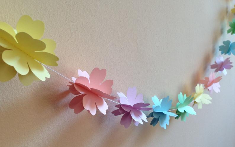 Бумажная гирлянда цветочек 3D (фигура 6см, плотность картона 160-170 гр/м3)