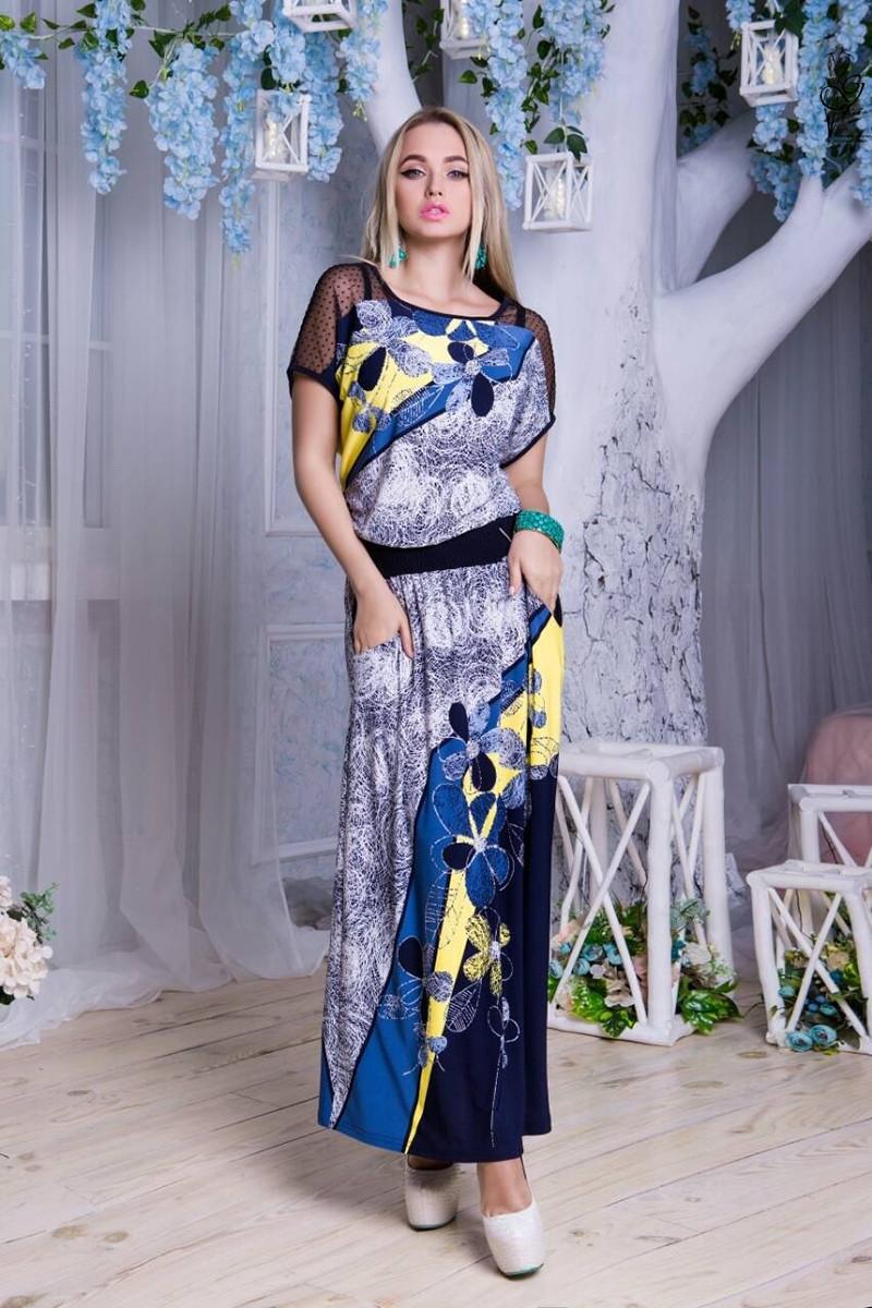 Длинное батальное летнее платье Ирма-6 46-56