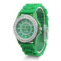 Часы Женева в стразах серебряный корпус : Зелёные