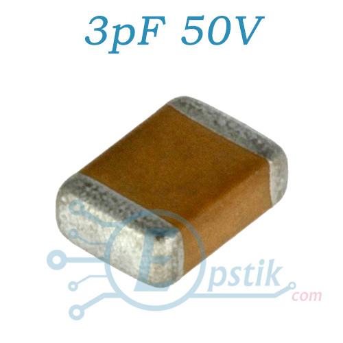 Конденсатор 3pF 50V, ±10%, NP0, 0805