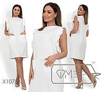 Платье-мини из льна с отделкой рюш по пройме и прорезными карманами по лицевой стороне, 2 цвета