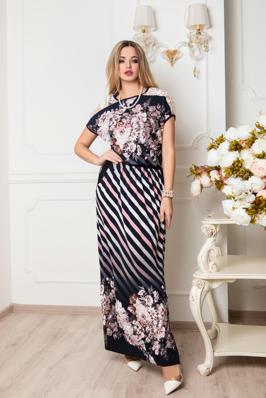 Длинное батальное летнее платье Ирма-12 46-56