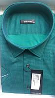Элегантная Рубашка мужская большого рамера с коротким рукавом приталенная DERGI батал зеленая