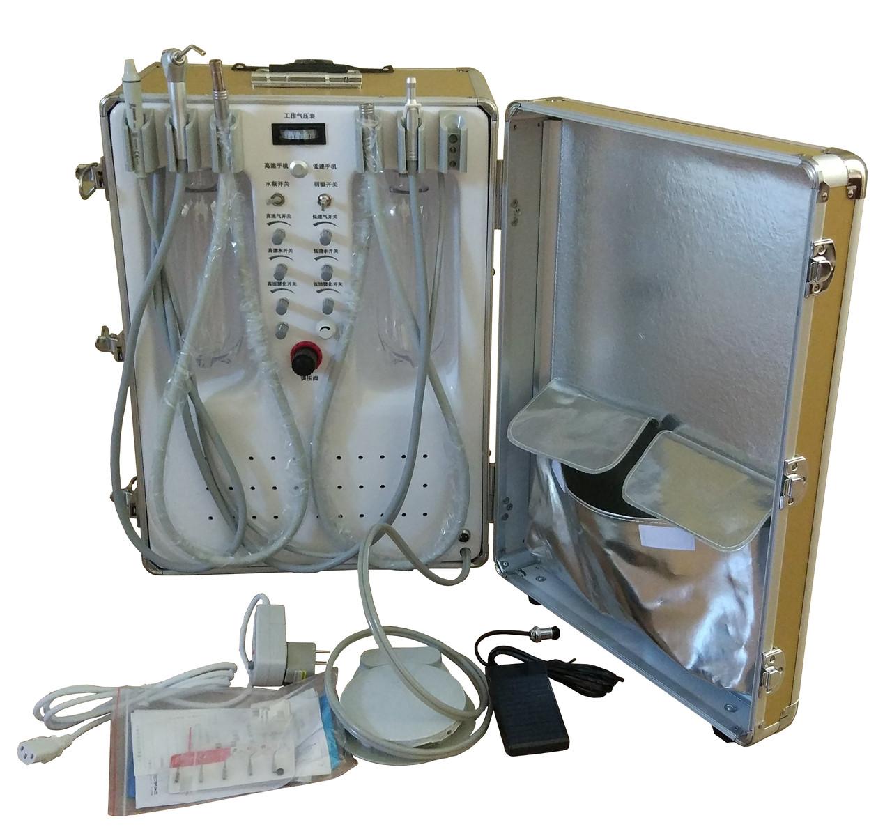 Стоматологічна установка P25 портативна з вбудованим компресором, скалером і ресивером.