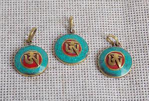 """Непальский  кулон """"Ом"""" с кораллом и бирюзой в этническом стиле. Этно стиль"""