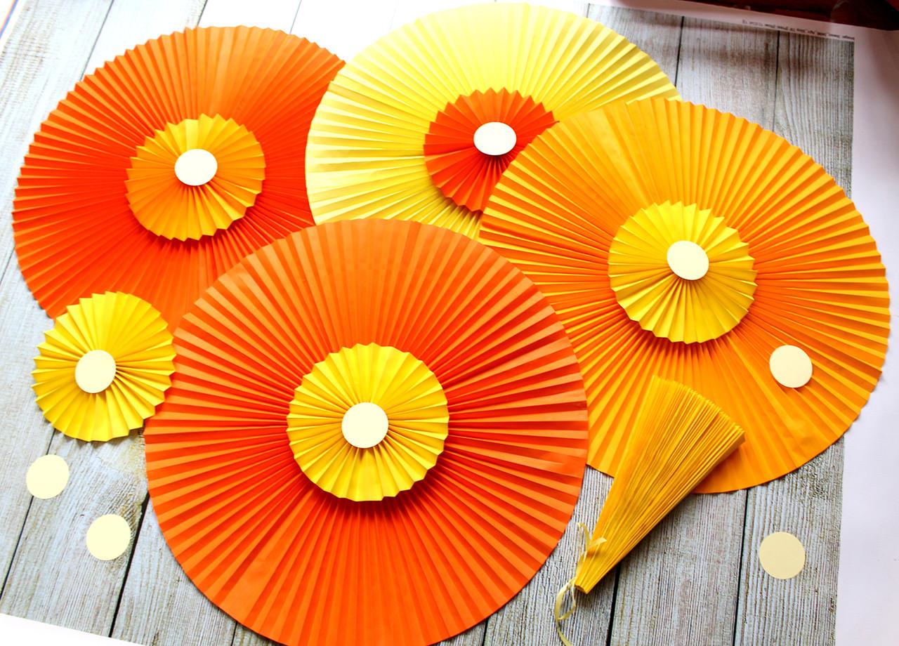 Набор бумажных вееров для декора (размер см.описание)