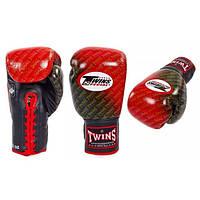 Перчатки боксерские кожаные на шнуровке TWINS (красный)