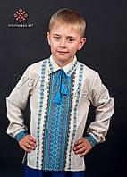 Вышиванка на мальчика с рубашечным воротником, арт. 0125-сіра