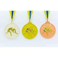 Медаль спортивная с лентой двухцветная Борьба 1-золото, 2-серебро, 3-бронза