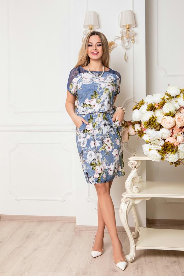 Фото Батального летнего красивого платья Ира-1