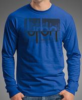 """0008-LS-RB.  Мужская футболка с длинными рукавами """"URBN"""". Cиняя."""