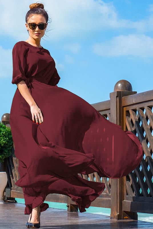Шифоновое платье Инесса, бордовое