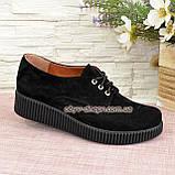 Женские туфли на утолщенной подошве, на шнуровке, натуральная замша, фото 2