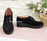 Женские туфли на утолщенной подошве, на шнуровке, натуральная замша, фото 4