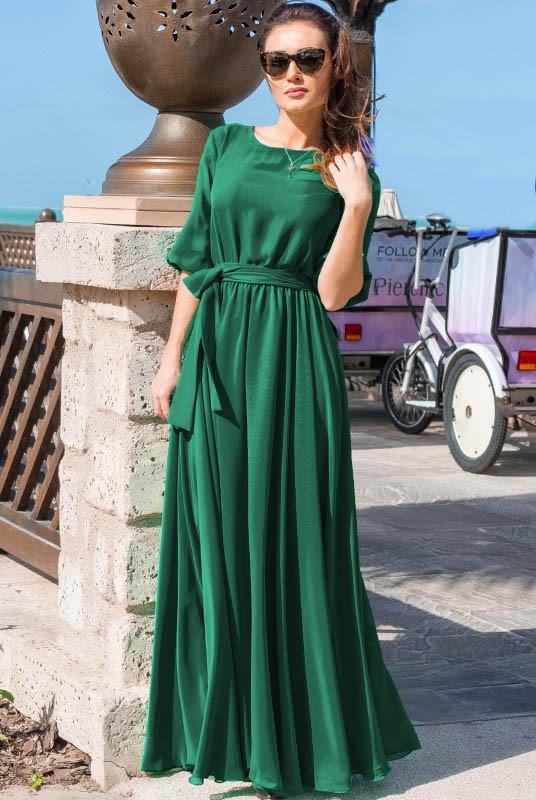Длинное платье Инесса, изумрудное