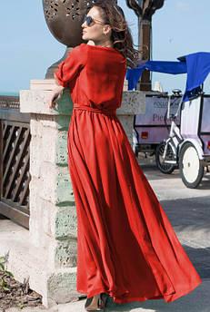 Красное нарядное платье Инесса в пол