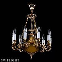 Люстра классическая на 9 лампочек (Латунь) DAFNE BRASS ANTIQUE Artglass