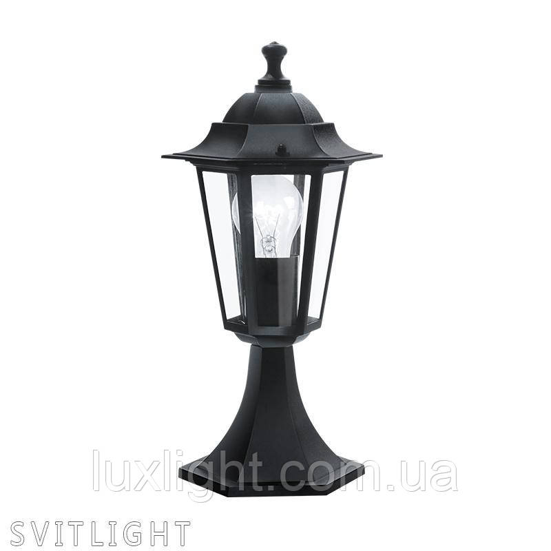 Уличный фонарь 22472 Eglo. Материал арматуры: Алюминий Материал плафона: Стекло Цвет арматуры: Черный Цвет