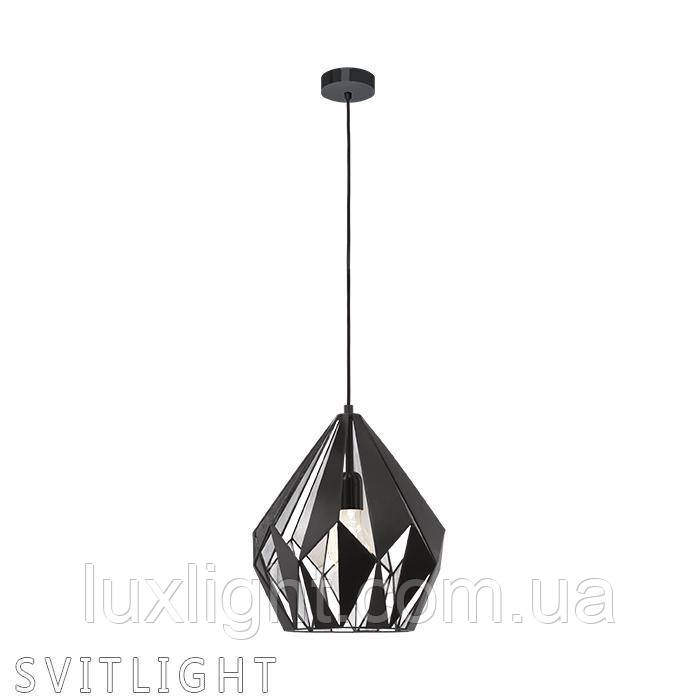 Люстра подвесная на 1 лампочку 49255 Eglo. Материал: Сталь Цвет : Черный/Серебро