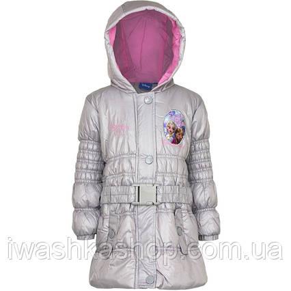 Стильная серая демисезонная куртка с поясом Frozen, Холодное сердце на девочку 4 лет, р. 104, Disney / Frozen.
