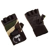 Перчатки атлетические ARMY кожа, напульсник, черные