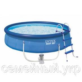 Надувной бассейн. Диаметр 457 см. Высота 122 см. 3-х слойный. intex 26168 Easy Set, фото 2