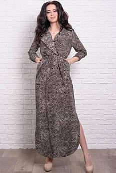 Приталенное летнее платье Шимер Леопард, шоколадный