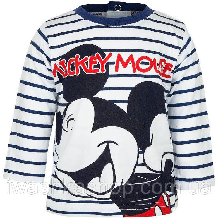 Стильный полосатый лонгслив с Микки Маусом на мальчика 18 месяцев, р. 81, Disney baby