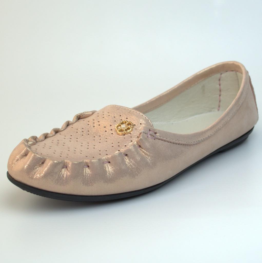 Мокасины кожаные летние женская обувь большой размер Tesoruccio Gold Pearl by Rosso Avangard золотой перламутр