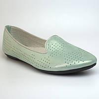 Балетки бирюзовые летние кожаные женская обувь больших размеров Scary V Turquoise Perl Perf by Rosso Avangard, фото 1
