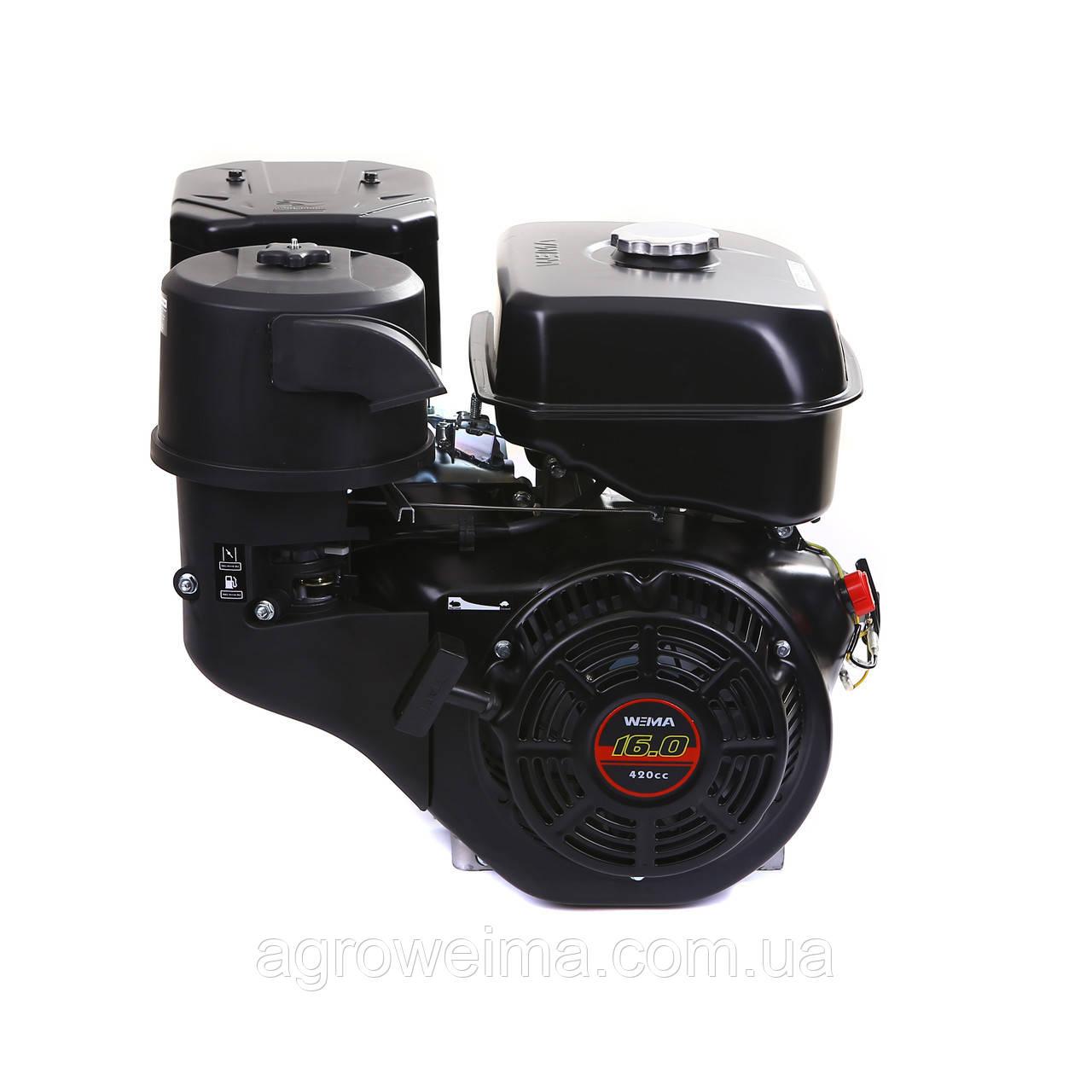 Двигатель бензиновый  WEIMA WM190F-L (R) NEW (ВАЛ ПОД ШПОНКУ, 25 ММ, 16 Л.С., РЕДУКТОР )