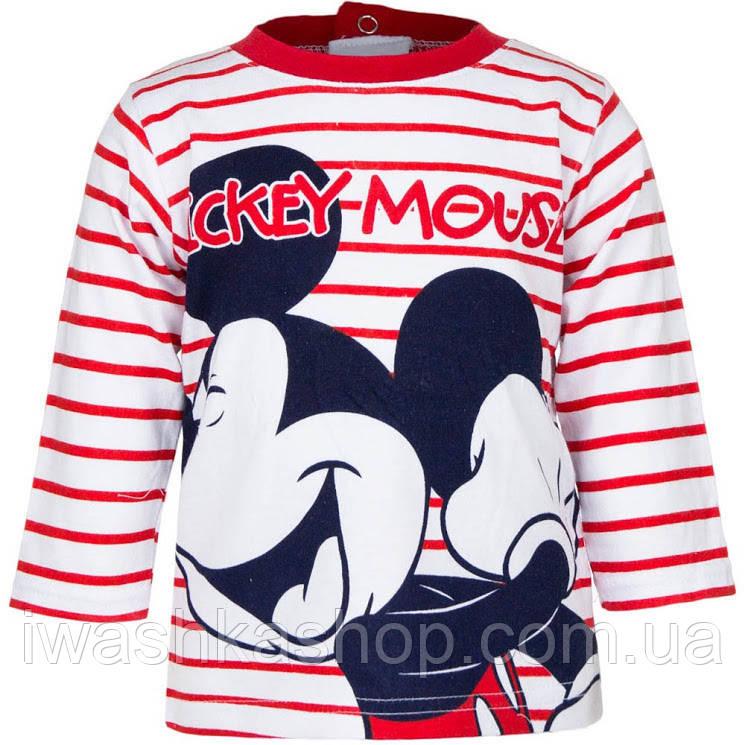 Стильный полосатый лонгслив с Микки Маусом на мальчика 12 месяцев, р. 74, Disney baby